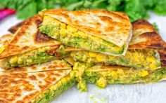 Cheesy Corn and Smashed Avocado Quesadillas [Vegan] | One Green Planet