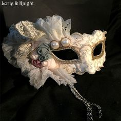 Italian Venetian Carnival Lace Mask Princess Masquerade Ball Mask with Pearl and Flowers