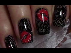 Spitzenmuster mit Kussmund Nageldesign / Romantic Lace Stamping Nail Art...