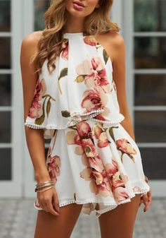 Available Sizes : S;L Bust(cm) : Length(cm) : Type : Loose Material : Polyester Pattern : Floral Length Style : Short Decoration : Ruffle, Tie Back Color : White Rompers For Teens, Rompers Women, Jumpsuits For Women, Teen Fashion Outfits, Girly Outfits, Outfits For Teens, Fancy Romper, Formal Romper, Cute Summer Outfits