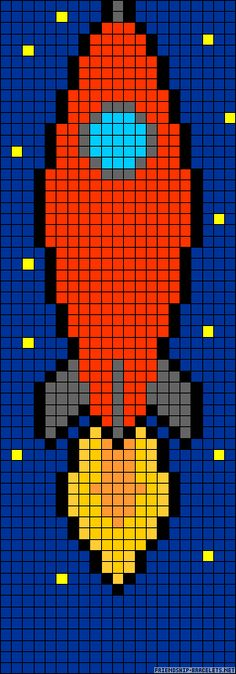Rocket perler bead pattern could use as crochet pattern