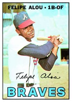 1967 Topps #530 Felipe, the oldest of the three Alous to play in the majors, was born May 12, 1935. He had the most success in baseball of the three brothers.  A 17-year career with a .286 batting average, 206 home runs, and 852 RBI while playing 1B/OF. Debut in 1958, the first year the Giants played in SF.  The first Dominican to be a regular starter in the majors. Felipe played for the Giants, Braves, Athletics, Yankees, Expos and Brewers.  A 3x All-Star, led the NL in hits 2x and runs…