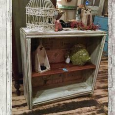 Distressed and modge podged book case. $74.99 #cherisheverymoment #upcycling #homedecor