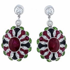 Art Deco Style 5.17ct Oval Cut  Faceted Cut Ruby, 0.76ct Old Mine  Round Cut Diamond, 1.00ct Faceted Cut Tsavorite  Onyx 18k White Gold Earrings