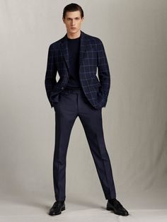Blazer Outfits Men, Outfits Hombre, Men Blazer, Massimo Dutti Hombre, Best Suits For Men, Best Dressed Man, Smart Casual Outfit, Checked Blazer, Outfits