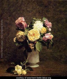 Roses in a White Porcelin Vase - Ignace Henri Jean Fantin-Latour - www.henri-fantin-latour.org
