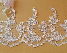 Width 8.07 inches ivory lace trimflowers embroidered