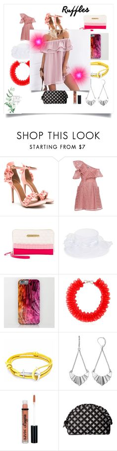 """""""Add Some Flair: Ruffled Tops"""" by ibur-7snowflakes ❤ liked on Polyvore featuring self-portrait, Betsey Johnson, Giovannio, Mary Katrantzou, Anchor & Crew, Simply Vera, NYX and Vera Bradley"""
