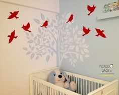 Trees and red little birds for our sweet 3 years old client! Little Birds, 3 Years, Kids Room, Trees, Rooms, Interior Design, House, Home Decor, 3 Year Olds