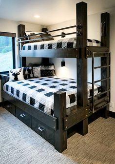 Cabin Bunk Beds, Queen Bunk Beds, Bunk Bed Rooms, Adult Bunk Beds, Bunk Beds Built In, Cool Bunk Beds, Bunk Beds For Adults, Pallet Bunk Beds, Boys Loft Beds