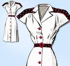 1940s Original Vintage Anne Adams Pattern 4806 Uncut Misses Shirtwaist Dress 34B #AnneAdams #DressPattern