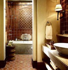 Terracotta tiles bring old world charm to the Mediterranean bathroom [Design: RJ Dailey Construction] Spanish Style Bathrooms, Spanish Bathroom, Spanish Style Homes, Spanish Tile, Master Bathroom, Warm Bathroom, Spanish Revival, Spanish House, Spanish Colonial