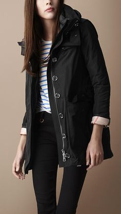 Classic black parka. Love the length and the zippers at the wrist.