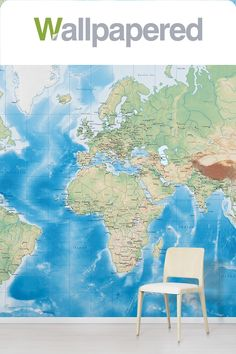 Create an impressive feature wall with our Ocean World Map wallpaper. Striking and highly detailed, this world map wall mural design makes a statement in any room. Printed onto premium quality non-woven wallpaper. Custom made for your wall. World Map Design, Detailed World Map, World Map Wallpaper, Interior Design Themes, Designer Wallpaper, Wall Murals, Ocean, Colours, Printed