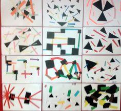Kompozycje dynamiczne. Wykorzystanie czarnej figury geometrycznej i kolorowych pasków papieru.