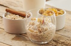 Photo about Chia Pudding with fresh fruits close up. Image of homemade, gluten, pudding - 59535410 The Oatmeal, Apple Pie Oatmeal, Chia Puding, Easy Overnight Oats, Healthy Snacks, Healthy Recipes, How To Make Breakfast, Oatmeal Recipes, Dairy Free Recipes