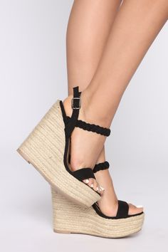 Keep Holding On Wedge - Black – Fashion Nova Cute Shoes Heels, Pretty Shoes, Black High Heels, Black Wedges, Black Shoes, Fashion Nova Models, Platform High Heels, T Strap Sandals, Fashion Shoes