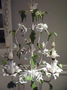 Vintage White Porcelain Rose Tole Chandelier by feelinvintage