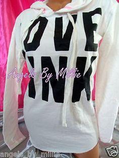 NEW Victoria Secret PINK XS WHITE NEON Bubblegum Baggy Boyfriend PULLOVER Hoodie