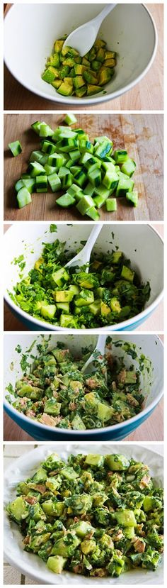 Cucumber Avocado Salad with Tuna, Cilantro, and Lime by yvonne Gurken-Avocado-Salat mit Thunfisch, Koriander und Limette von yvonne Cucumber Avocado Salad, Tuna Avocado, I Love Food, Good Food, Yummy Food, Tasty, Paleo Recipes, Cooking Recipes, Avocado Recipes