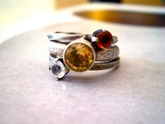 Aureus Ring in Yellow Citrine, Fire Citrine, and White Topaz, and Sterling Silver