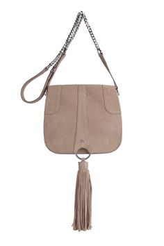 Stunning suede side bag with beautiful silver detailing and large tassel design. Features a gorgeous interior & a strong well crafted exterior. Made in World Class manufacturers.    Measurements: H20cm x W23cm x D7cm   Almond Omissa Saddle-Bag by AVGVS. Bags - Cross Body New South Wales, Australia