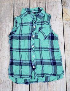 Freshman Apparel Plaid Sleeveless Dress Shirt Blue Crochet Back Big Girls Size 7 #FreshmanApparel #Everyday