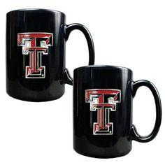 Texas Tech University Black Coffee Cup Set