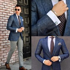 - with a navy linen blazer brown silk tie gray trousers sunglasses silk pocket square socks brown cap toe socks Mens Fashion Blog, Mens Fashion Suits, Mens Suits, Gentleman Mode, Gentleman Style, Blazer Outfits Men, Blue Blazer Outfit Men, Denim Suit, Suit Combinations