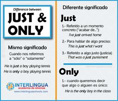 """How to use """"just"""" and """"only"""" in English #English #ingles"""