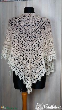 Krémszínű horgolt csipke kendő (Fonalfaloka) - Meska.hu Crochet Top, Blouse, Lace, Tops, Women, Fashion, Blouse Band, Moda, Women's