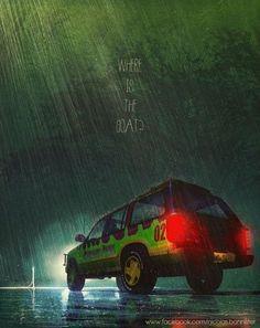 tumblr_mv7y6bYQ2N1r2zh8do7_500.jpg (500×630) #movie #poster #jurassicpark #jurassic #car