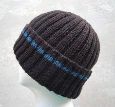 Brown & Blue Hat for Men Women Teens Hand Knit Wool by Girlpower
