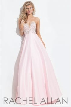 Strapless satin gown with a jeweled bodice