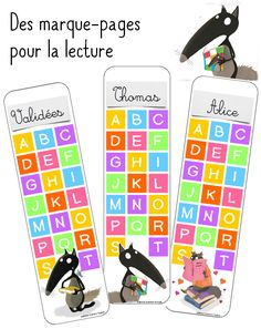 Marque-pages du Loup                                                       … First Day Of School, Back To School, Party Corner, Kindergarten, Paper Banners, Pencil Toppers, Bookmarks, Alphabet, Alice