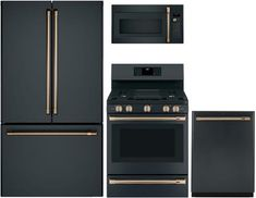 Cafe 4 Piece Kitchen Appliance Package with 36 Inch Smart French Door Refrigerator, 30 Inch Smart Gas Range, 30 Inch Over the Range Microwave and 24 Inch Built In Dishwasher in Matte Black Home Decor Kitchen, Rustic Kitchen, New Kitchen, Kitchen Ideas, Kitchen Inspiration, Kitchen Designs, Eclectic Kitchen, Condo Kitchen, Design Inspiration
