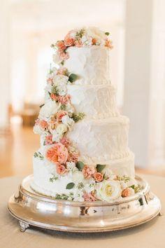 awesome Wedding Cake with Peach Flowers  #dreamwedding