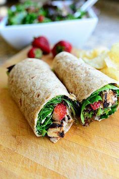 strawberry, chicken and spinach wrap. maybe add some blueberries and Parmesan cheese