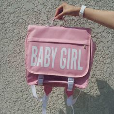 itGirl Shop BABY GIRL PINK BLACK COLLEGE BACKPACK Aesthetic Apparel, Tumblr Clothes, Soft Grunge, Pastel goth, Harajuku fashion. Korean and Japan Style looks