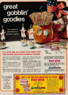 The only actual death resultant of poisoned Halloween Candy was a case where a father killed his kid for the insurance with arsenic in pixy stix. He tried to blame it on someone down the street. But trick or treaters verified that his was the only house giving out pixy stix that year. What a creep. Vintage Halloween Ad ~ Pixy Stix Sweetarts Candy ©1975