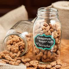 Sriracha Cinnamon Sugar Nuts - Amazing combo!  Sweet, salty, and sassy with kick.  Perfect holiday party or game day snack!