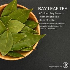 Bay leaf benefits and bay leaf tea recipe Healthy Drinks, Healthy Eating, Healthy Recipes, Detox Drinks, Healthy Food, Herbal Remedies, Health Remedies, Natural Cures, Natural Health