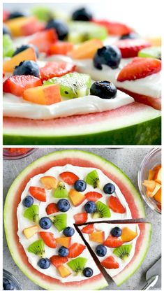 """Aug 2019 - Make this Watermelon Pizza recipe as refreshing dessert! It has a watermelon """"crust"""" with cream cheese frosting and colorful pieces of fruit on top. Watermelon Pizza, Watermelon Recipes, Fruit Recipes, Pizza Recipes, Summer Recipes, Dessert Recipes, Cooking Recipes, Watermelon Dessert, Easter Recipes"""