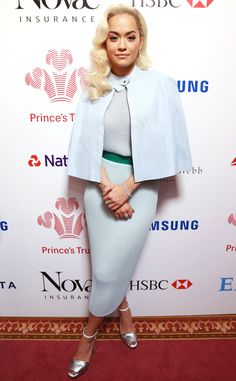 Rita Ora from The Best of the Red Carpet  Ice blue pastels, pleated knits and a cape! Of course we love Rita's fresh Spring look.
