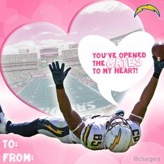 Chargers Valentine's Day Cards | San Diego Chargers