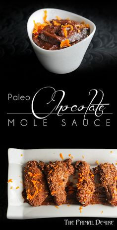 Spicy and creamy this Mexican Paleo Chocolate Mole Sauce is great on chicken or pork, or just as a dip! Mexican Dishes, Mexican Food Recipes, Real Food Recipes, Yummy Food, Easy Recipes, Chicken Recipes, Healthy Gluten Free Recipes, Primal Recipes, Paleo Food