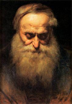 Jan Matejko / Glowa starca / Old Man s Head #polish #painter