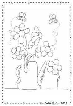 Flower Embroidery Pattern By Zulu and Co Wool Applique, Applique Patterns, Applique Designs, Embroidery Applique, Cross Stitch Embroidery, Hand Embroidery Patterns, Machine Embroidery, Quilt Patterns, Stitch Patterns