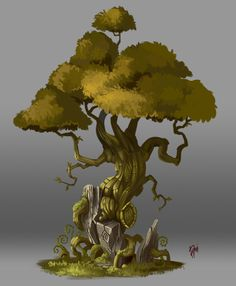 Concept Art. Tree 004, Raki Martinez on ArtStation at https://www.artstation.com/artwork/RDZWA