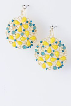 {Jewel Flower Metal Trendy Earrings}